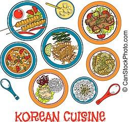croquis, viande, plats, fruits mer, grillé, coréen, icône