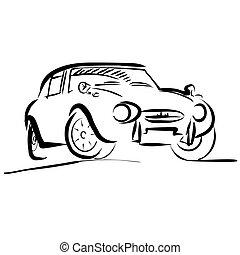 croquis, vieux, contour, voiture, petit, sport