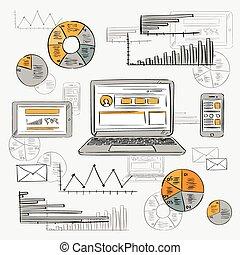 croquis, vieux, finance, tablette, vendange, ordinateur portable, diagramme, diagramme, téléphone, papier, retro, fond, graphique, grunge, intelligent