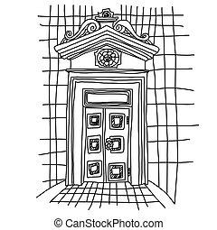 croquis, vieux, illustration., vendange, door., vecteur, gate.