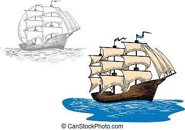 croquis, vieux, voile, mer, vagues, bateau