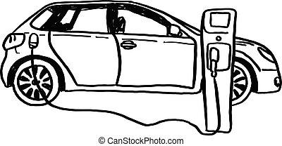croquis, voiture électrique, lignes, isolé, illustration, main, vecteur, arrière-plan noir, dessiné, blanc