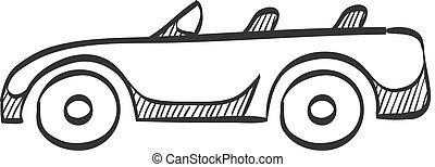 croquis, voiture, -, cabriolet, sport, icône