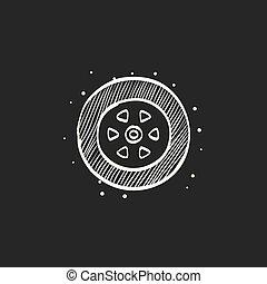 croquis, voiture, -, noir, pneu, icône