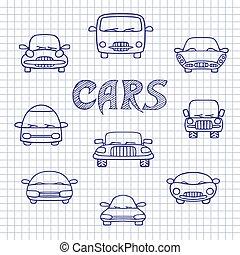 croquis, voitures, ensemble