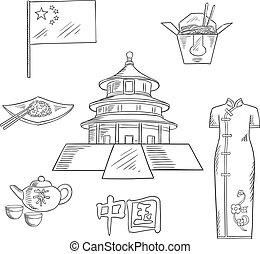 croquis, voyage, conception, porcelaine, tourisme, icône