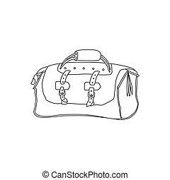 croquis, voyage, illustration, main, vecteur, valise, bag., dessin