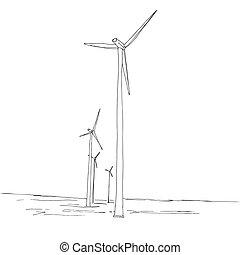 croquis, windmills., illustration, main, vecteur, dessiné, style.