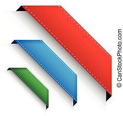 crorner, set, -, angolo, bandiera, nastro