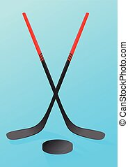 crosesd hockey stick and puck ice hockey night macy poster ...