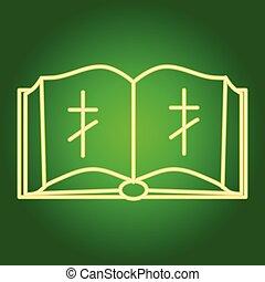 cross., 開いている聖書, キリスト教徒, アイコン