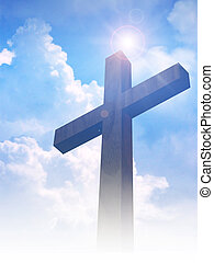 Cross - A cross on clouds background