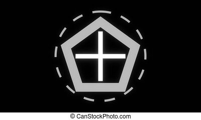 Cross aim icon, computer generated. 3d render of bacdrop with target symbol. Circle, crosshair and dotted line