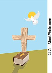 Cross and Bible. Christian grave. Soul of man in form of white dove flies in  heavens. Allegorical figure of religious theme