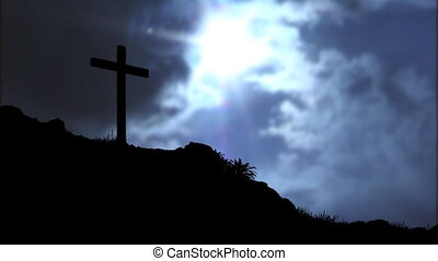 Cross and Clouds - Time lapse of the sun shining through...