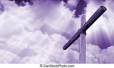 Loop with violet purple tone features an old rugged wooden cross standing against a sky with clouds moving in time lapse fashion.