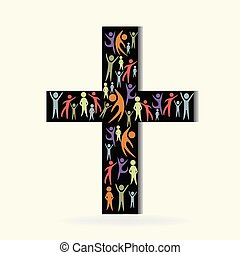 Cross and community people logo - Community people on black...