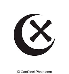 Cross and crescent icon, simple style