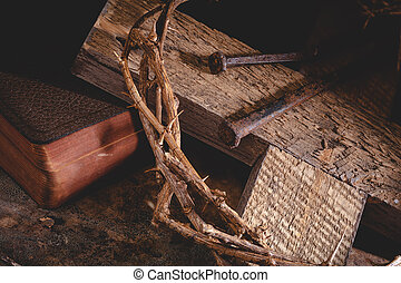 Cross and Crown of Thorns With Bible