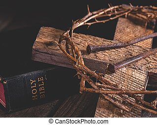 Cross and Crown of Thorns With Holy Bible