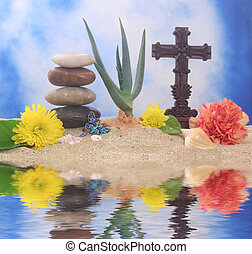 Cross and Flowers on Sand