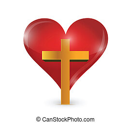 cross and heart illustration design