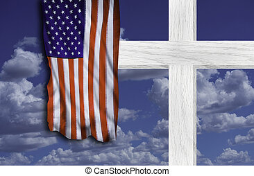 Cross and Old Glory. - Christian cross and American old...