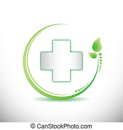 cross and organic leaves illustration
