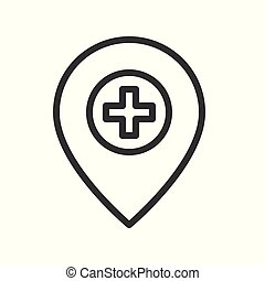 cross and pin, location or navigation of clinic or hospital outline icon