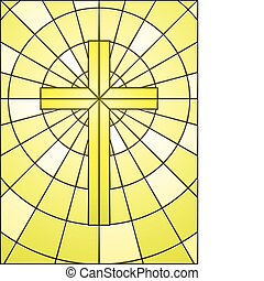 Cross and rings window - Cross on gold light in stained...