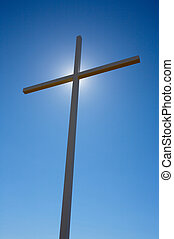 Cross and Sun 01 - Cross with the sun behind it
