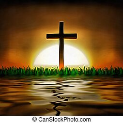 Cross and sun over water