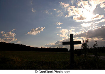 Cross and sunset - Christian cross during the sunset