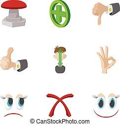 Cross and tick icons set, cartoon style