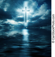 Cross and waters - A cross floating above the waters at...
