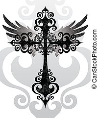 Cross and Wings - Stylized cross and angel wings