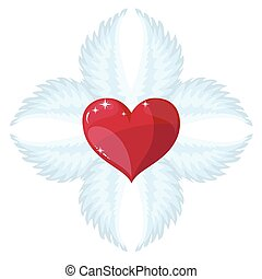 Cross- angel wings and a heart in the middle. Stock Vector...