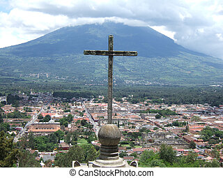 Cross Antigua - A large cross overlooking the colorful...