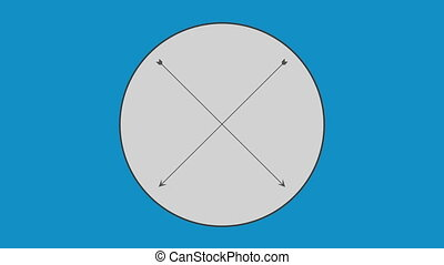 Cross arrow in circle against blue background