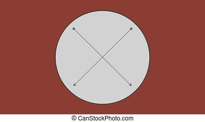 Cross arrow in circle against brown background