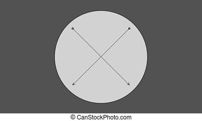 Cross arrow in circle against gray background