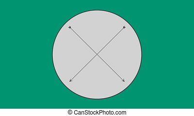 Cross arrow in circle against green background