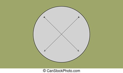 Cross arrow in circle against olive green background