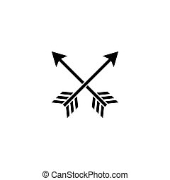 Cross Arrows. Flat Vector Icon. Simple black symbol on white background