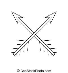 Cross arrows thin line icon