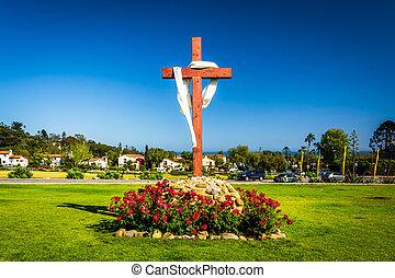 Cross at Old Mission Santa Barbara, in Santa Barbara, California