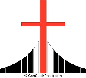 Cross at the Golgotha Christian symbol - Red christian cross...