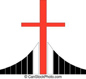 Cross at the Golgotha Christian symbol - Red christian cross...