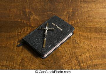 Cross, Bible on Antique Wood