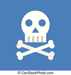 Cross bones and skull, death, medical and hospital related flat design icon set